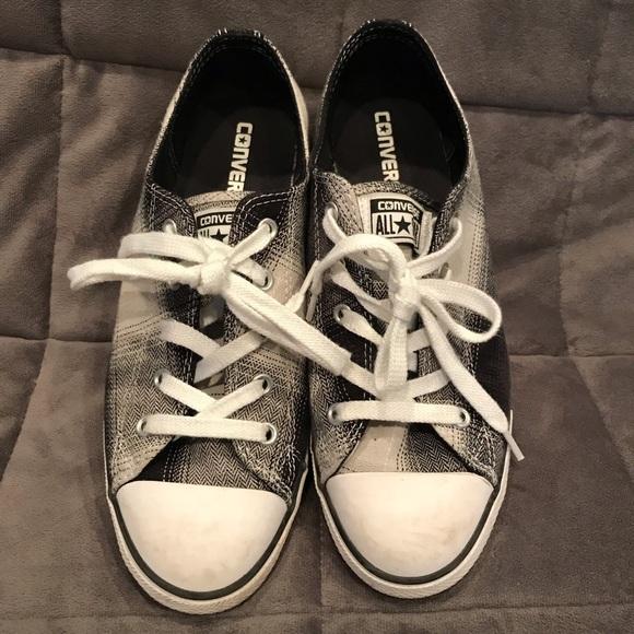 Converse Shoes - Converse Black & Gray Plaid Chuck Taylor Low Tops